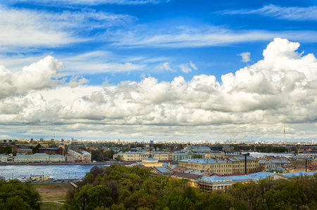 Saint-Petersburg, Russia - May 15, 2006: View onto University Embankment across the Neva river Stock Photo