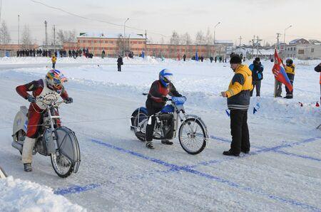 Tyumen, Russia - February 10, 2007: The city motorcycle sport championship. Race on Ice discipline