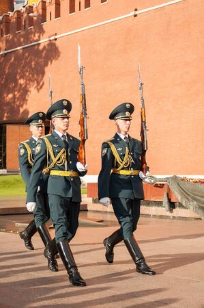 Moscow, Russia - July 4, 2005: Soldiers of honourable I punished march at Kremlin walls Editorial