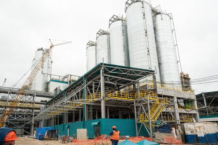 Tobolsk, Russia - May 29. 2018: Sibur company. Construction of plant on processing of hydrocarbonic raw materials Editorial