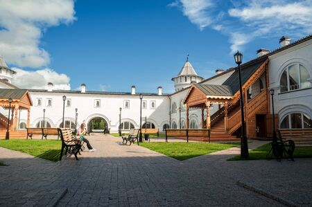 Tobolsk, Russia - July 15, 2016: Woman rests in interior of Guest Yard. Building of Gostiny dvor is built in 1703 - 1706 on project of architect, cartographer and historian of Siberia S. U. Remezov Editorial