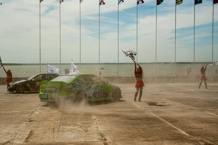 Tyumen, Russia - June 23, 2017: Army Games. Engineering Formula contest. Highest military and engineering school ground. Drifting cars show