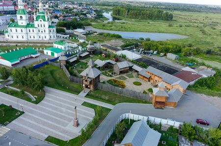 Yalutorovsk, Russia - August 20, 2017: Sretensky cathedral and Sretensky fortress. It is recreated in original form to 350 anniversary of town. Partially burned down in January, 2014 Editorial