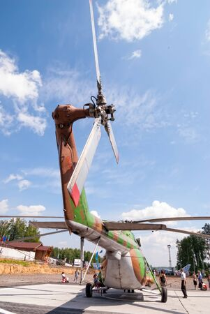 Nizhniy Tagil, Russia - July 12. 2008: RAE exhibition. Demonstration of Mi-8 multipurpose helicopter