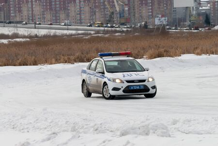 Tyumen, Russia - February 22, 2015: Ice autodrome Ice cult on Alebashevo lake. Competitions for police officers Special operation Ice Editorial