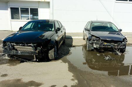 Tyumen, Russia - April 2, 2019: Seriously damaged vehicle near car service in so-called Autograd Sajtókép