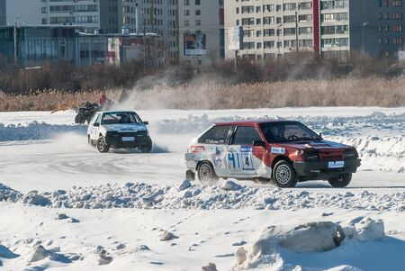 Tyumen, Russia - February 22, 2015: Ice autodrome Ice cult on Alebashevo lake. Sports competitions on cars