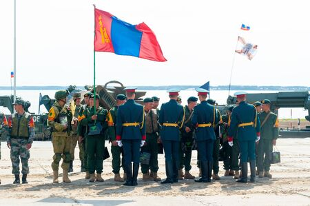 Tyumen, Russia - August 10, 2019: Army Games. Engineering Formula contest. Highest military and engineering school ground. Awards ceremony of winners. Team of Mongolia Editorial