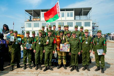Tyumen, Russia - August 10, 2019: Army Games. Engineering Formula contest. Highest military and engineering school ground. Awards ceremony of winners. Team of Belarus