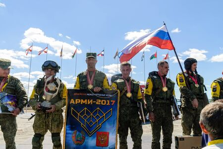 Tyumen, Russia - August 4, 2017: Awards ceremony of ARMY-2017 the international army games in Engineering Formula nomination among the units of the engineering troops of Russia, Belarus and Uzbekistan Editorial
