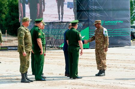 Tyumen, Russia - August 10, 2019: Army Games. Engineering Formula contest. Highest military and engineering school ground. Awards ceremony of winners. Pakistan officer