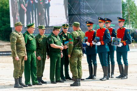 Tyumen, Russia - August 10, 2019: Army Games. Engineering Formula contest. Highest military and engineering school ground. Awards ceremony of winners