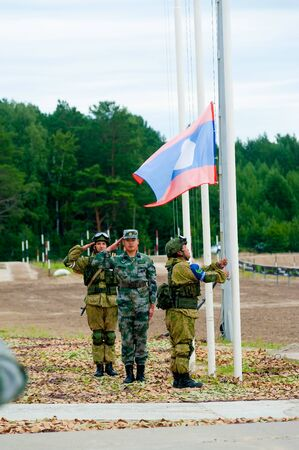 Tyumen, Russia - August 4, 2017: Stage of ARMY-2017 the international army games in Engineering Formula nomination among the units of the engineering troops. Raising the flag ceremony