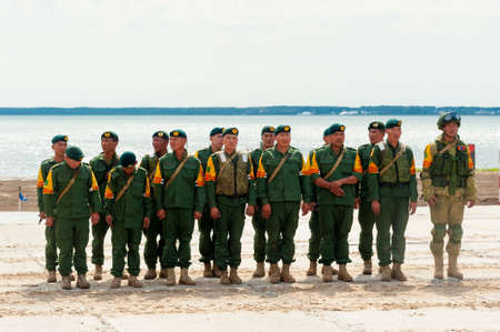 Tyumen, Russia - August 10, 2019: Army Games. Engineering Formula contest. Highest military and engineering school ground. Team of Mongolia on awards ceremony of winners