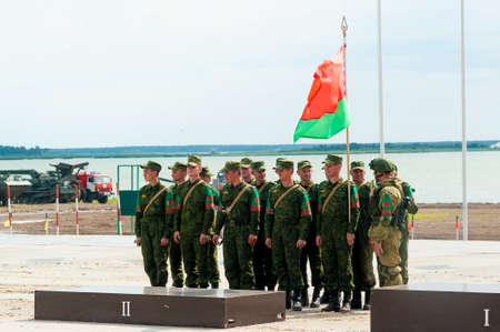 Tyumen, Russia - August 10, 2019: Army Games. Engineering Formula contest. Highest military and engineering school ground. Team of Belarus on awards ceremony of winners