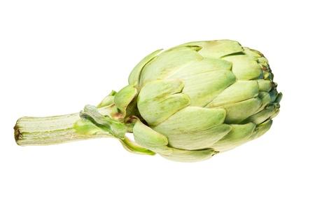 single green  artichoke isolated on white photo