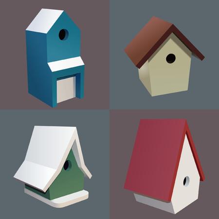 Four Birdhouses Ilustrace