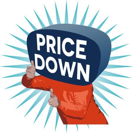 Price Down Man Illusztráció