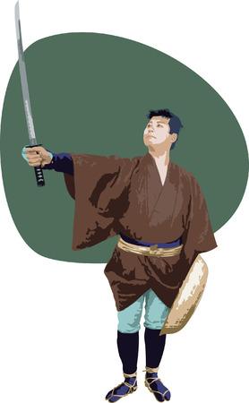 日本の昔の放浪者。