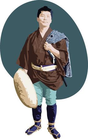 日本の昔の放浪者  イラスト・ベクター素材