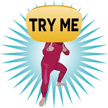 Try me - man image illustration. Ilustrace