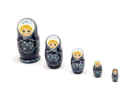 russian nesting dolls: Russian doll over white