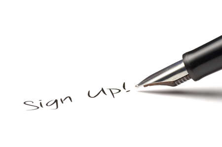 signup: Fountain pen writing Sign up