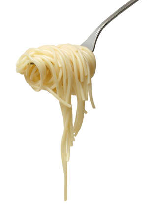 Spaghetti on fork isolated over white background photo