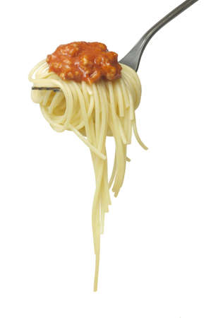 Spaghetti with sauce isolated over white background photo