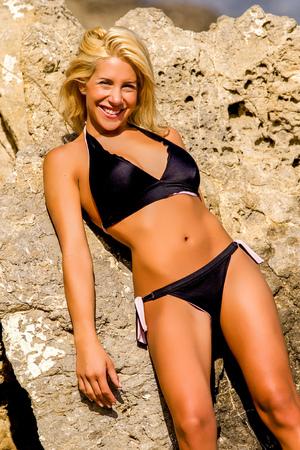 Blonde In Black Bikini