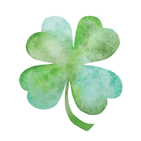 celtic shamrock: Green clover watercolor hand drawing illustration