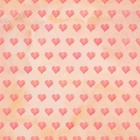watercolor paper: Seamless Valentines day watercolor hearts background on paper texture Stock Photo