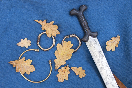 reconstructed: Reconstructed celtic sword with oak leaves on blue background