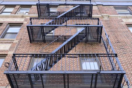 escape: Black fire escape in Brooklyn, New York Stock Photo