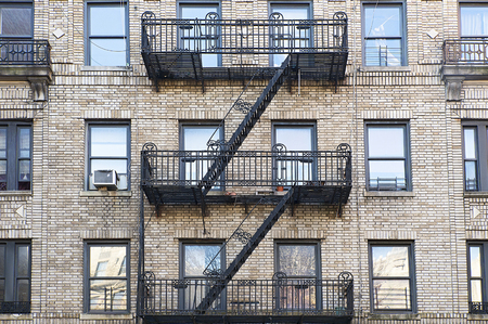 fire escape: Black fire escape in Brooklyn, New York Stock Photo