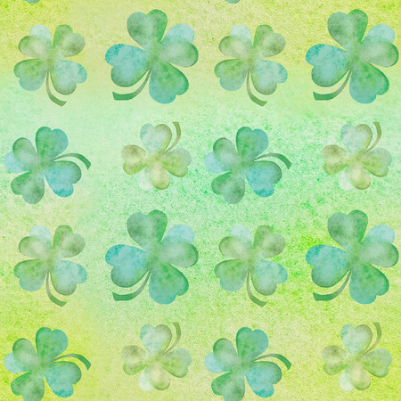 seamless clover: Green clover on a green background watercolor seamless illustration Stock Photo