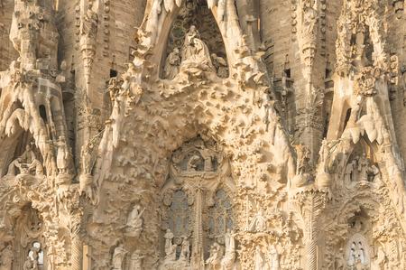 Detail of Sagrada Familia in the sunset light, Barcelona