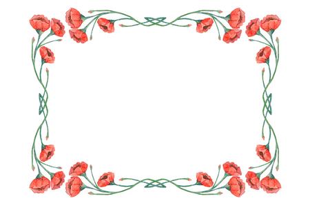 白い背景に分離された水彩画のビンテージ赤いケシ フレーム