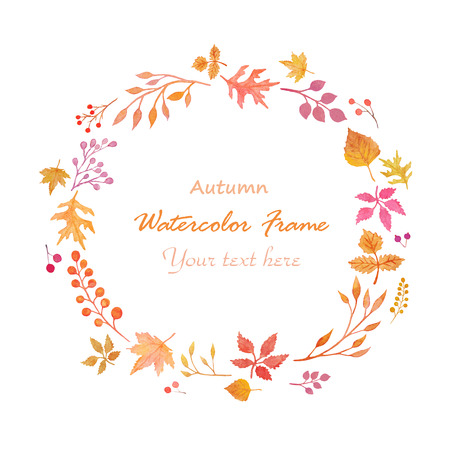 violet red: Watercolor autumn frame isolated on white background Stock Photo