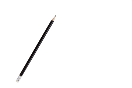 Black pencil with eraser isolated on white background Imagens