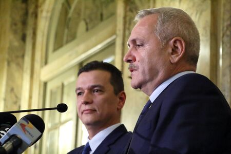 Bucharest, Romania - December 28, 2016: Sorin Mihai Grindeanu (L) is the new proposal for the prime minister of Romania, announced by the Social Democrat leader, Liviu Dragnea (R), in a press conferen