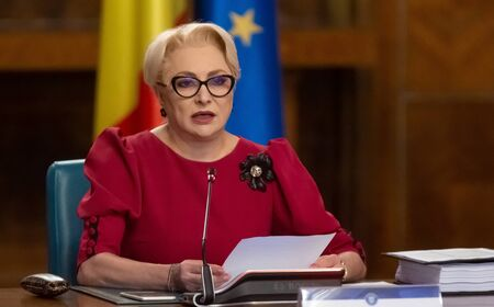 Bucharest, Romania - July 17, 2019: Viorica Dancila, Prime Minister of Romania, heads the government meeting at Victoria Palace in Bucharest, Romania.