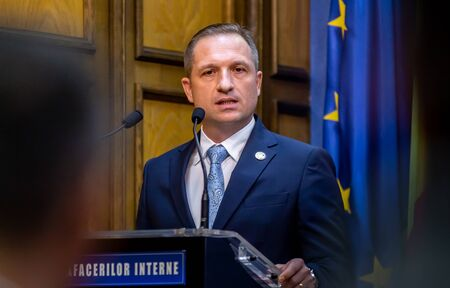 Bucharest, Romania - August 08, 2019: Marius Cristian Ghincea the new prefect of Bucharest holds a speech during his investment ceremony, at the headquarters of the Ministry of Interior in Bucharest.