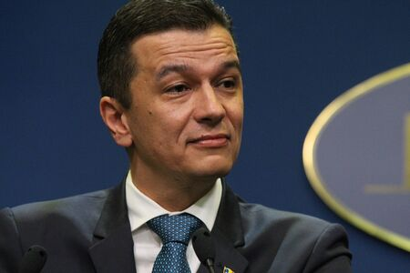 Bucharest, Romania - June 15, 2017: Romanian Prime Minister Sorin Grindeanu speaks during a press conference in Bucharest. June 15, 2017 Sorin Grindeanu heads a government without ministers after their resignation.