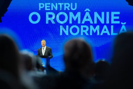 Bucharest, Romania - August 08, 2019: Klaus Iohannis, the president of Romania, speaks at the National Convention of the National Liberal Party, held in Bucharest.