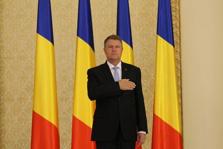 Bucharest, Romania - June 29, 2017: Klaus Iohannis, the Romanian President, takes part at the Romanian Government Swearing-in ceremony at the presidency of Romania, at Cotroceni Palace, in Bucharest, Romania. June 29, 2017