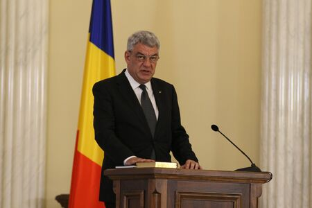 Bucharest, Romania - June 29, 2017: Mihai Tudose, the new Prime Minister of Romania, takes part at the Romanian Government Swearing-in ceremony at the presidency of Romania, at Cotroceni Palace, in Bucharest, Romania. June 29, 2017