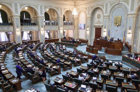 Bucharest, Romania - May 29, 2018: The Senators attend the proceedings of the Senate of Romania at the Parliament Palace, in Bucharest, Romania. Sajtókép