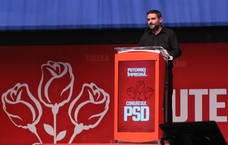 Bucharest, Romania - June 29, 2019: Liviu Plesoianu, candidate (not elected) for President of the Social Democratic Party (PSD), speaks at the party congress at the Palace Hall in Bucharest.