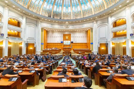Bucharest, Romania - June 26, 2019: Joint meeting of the reunited chambers of the Romanian Parliament, in the plenary hall of the Chamber of Deputies, in Bucharest, Romania